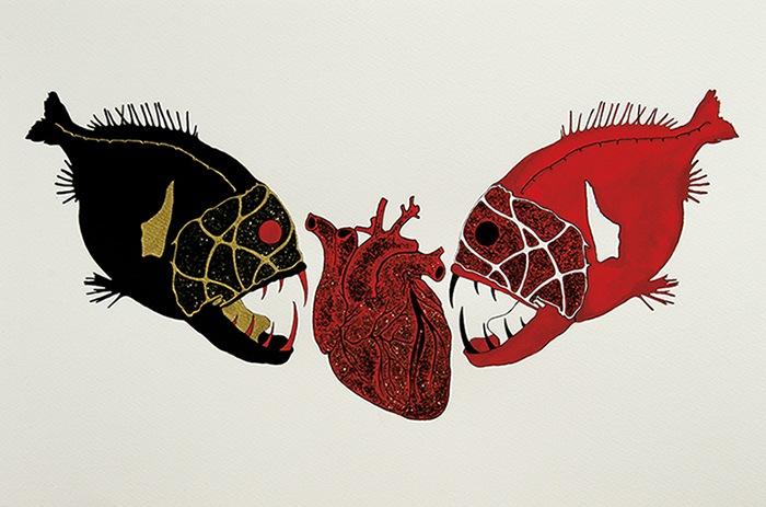 Illustrazione di una coppia di pesci che stanno per sbranare un cuore