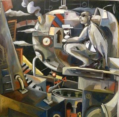 carloni Guardiano del tempo, 80 cm x 80, olio su tela, 2012